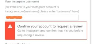 confirm your account to request a review