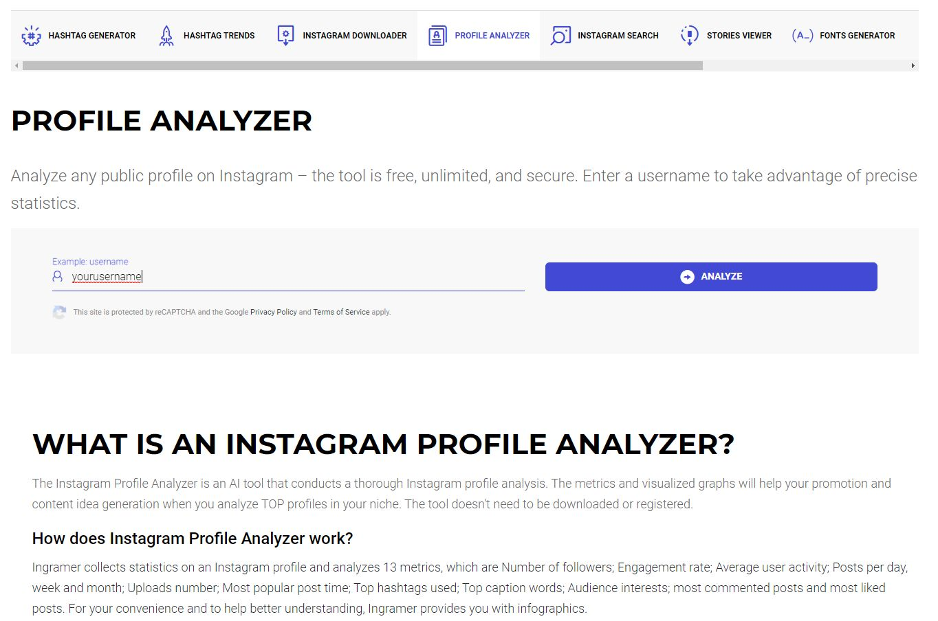 Instagram hashtags strategy profile analyzer